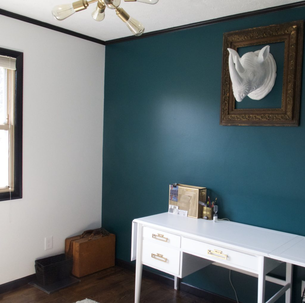 Orange Accent Wall Black Trim: Peacock Accent Wall In Office With Black Trim