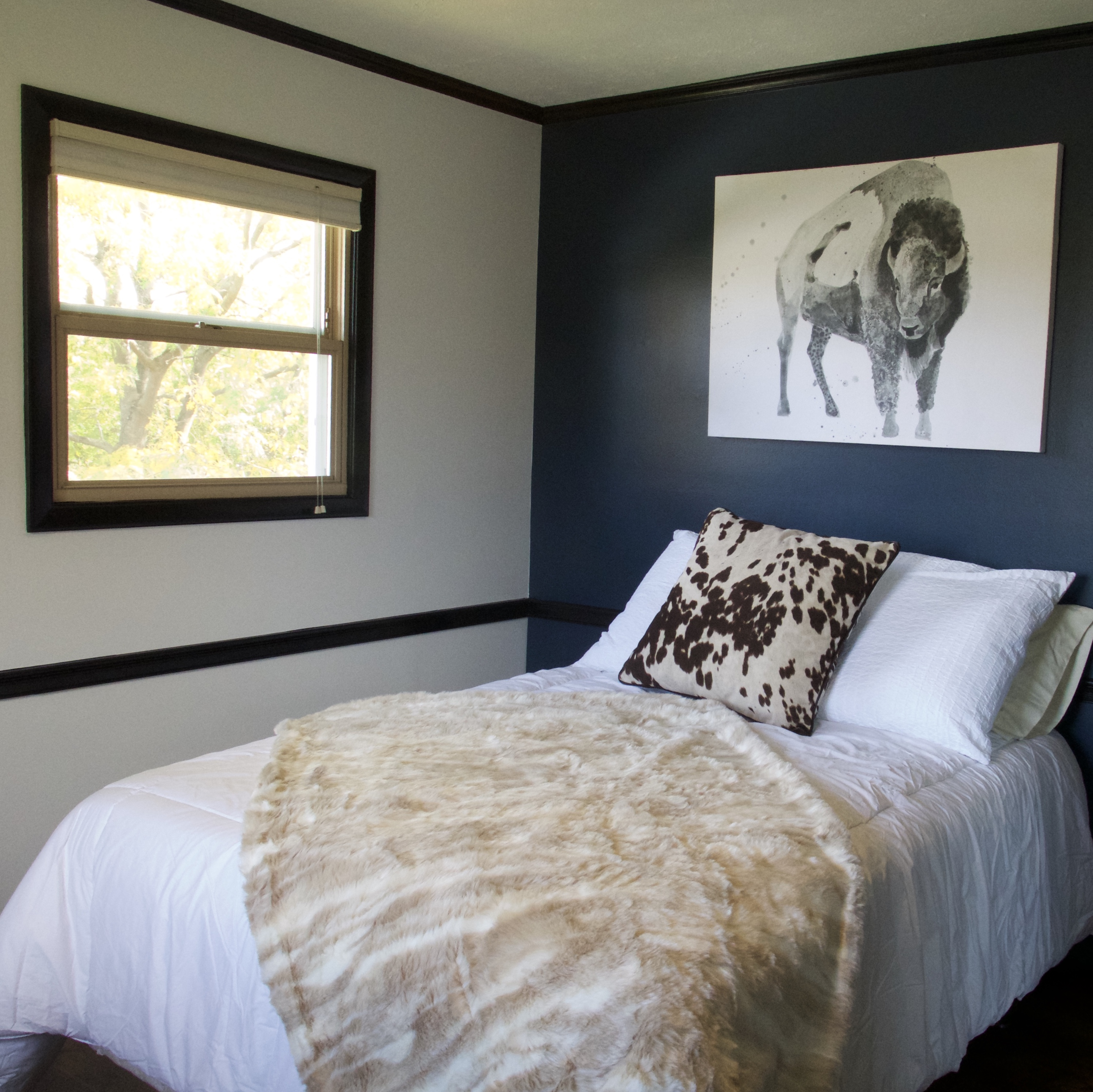 Blue Accent Bedroom Wall With Black Trim - Shepard Painting ...